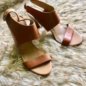 Franco Sarto Leather Sandal with Block Heel